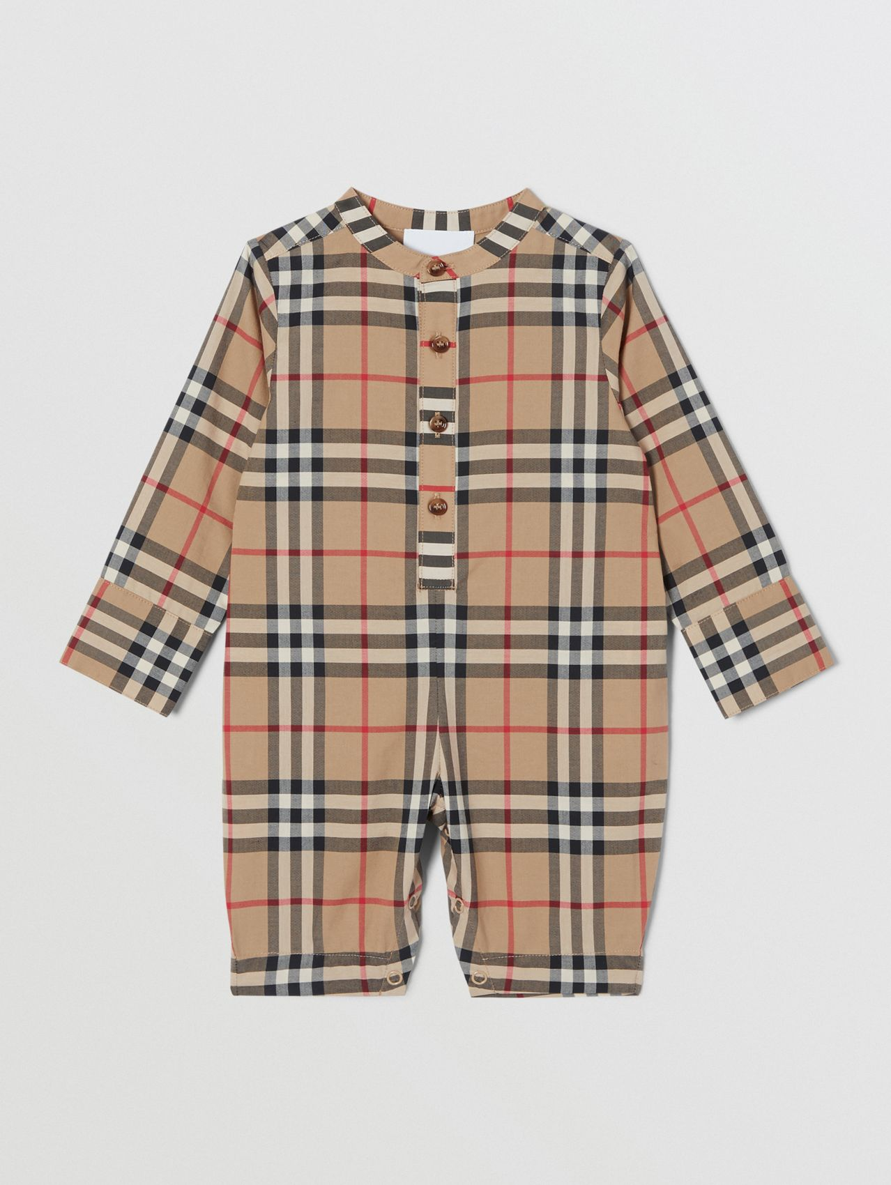 Vintage Check Cotton Jumpsuit in Archive Beige