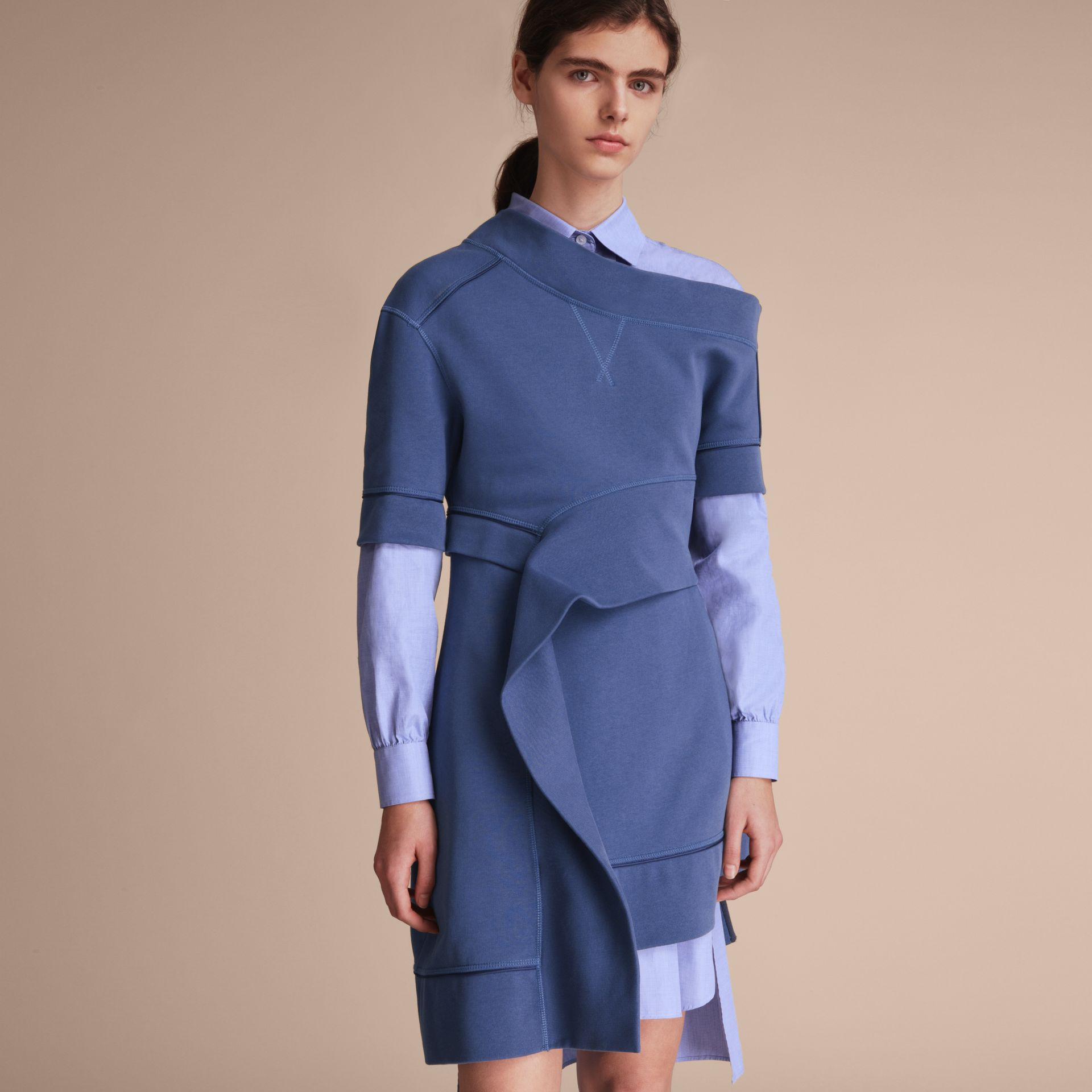 One-shoulder Sweatshirt Dress in Pewter Blue - Women | Burberry Singapore - gallery image 6