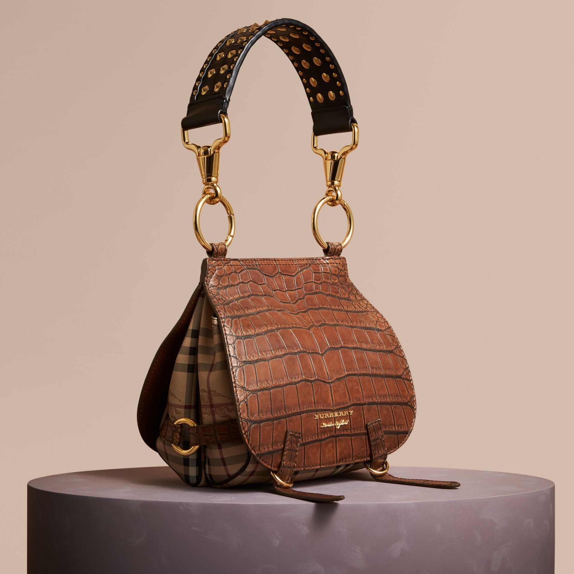 The Bridle Bag in Alligator and Haymarket Check in Russet Brown - Women | Burberry - gallery image 1