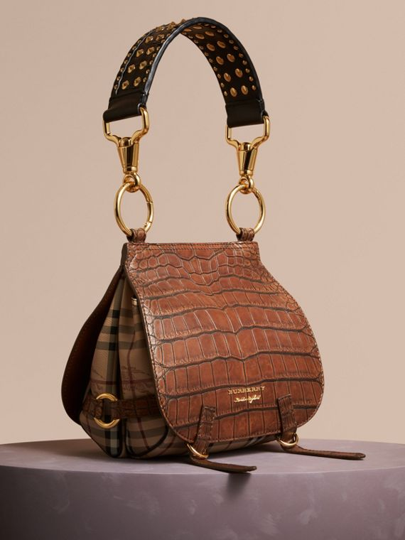 The Bridle Bag in Alligator and Haymarket Check in Russet Brown