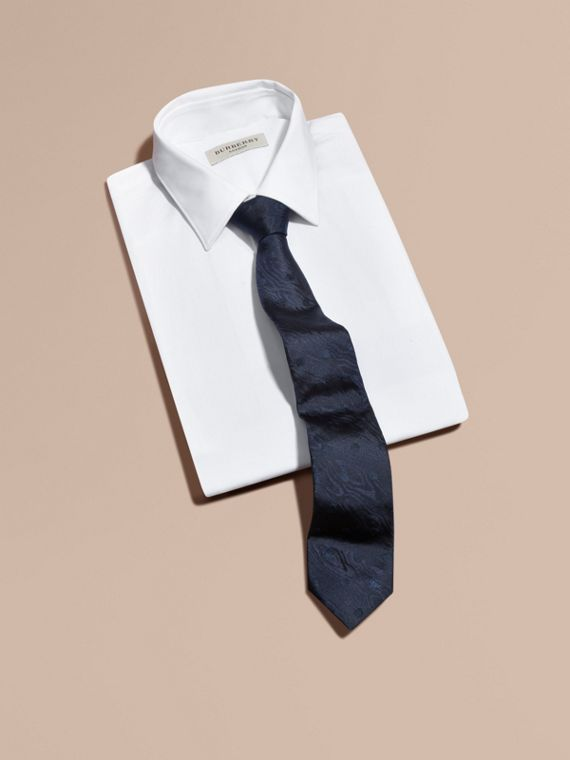 Modern Cut Polka Dot Silk Tie Navy - cell image 3