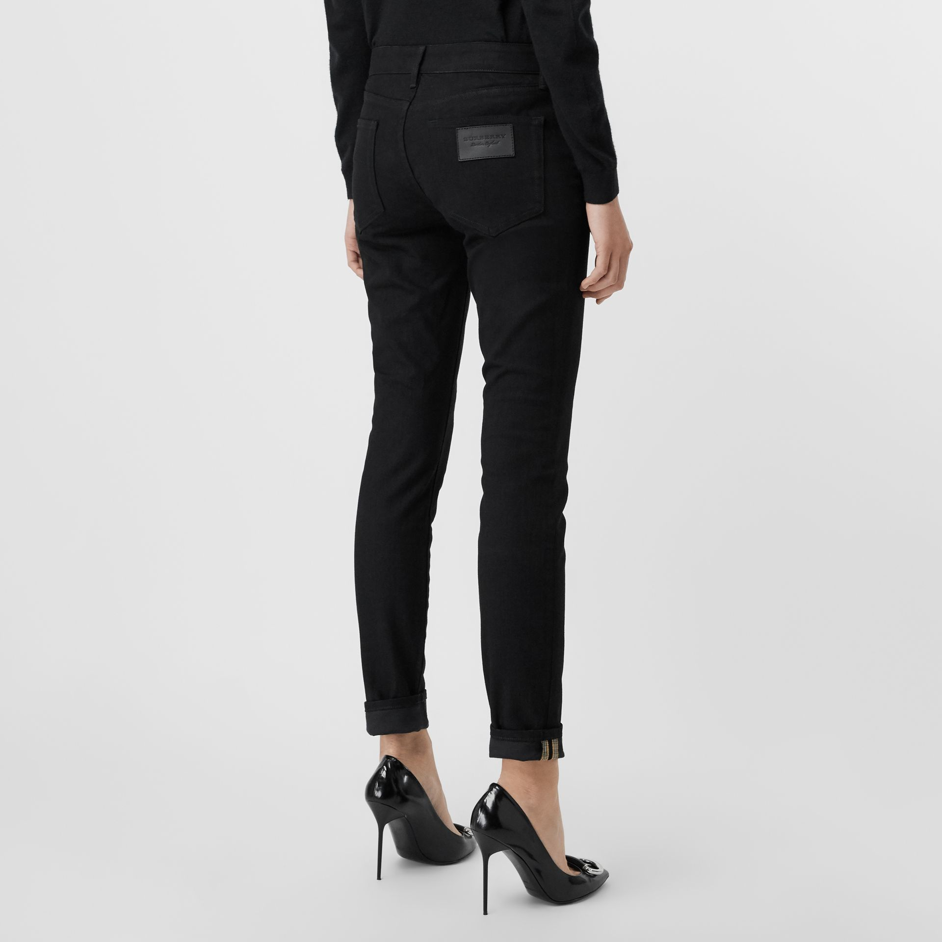Check Detail Skinny Fit Japanese Denim Jeans in Black - Women | Burberry - gallery image 2