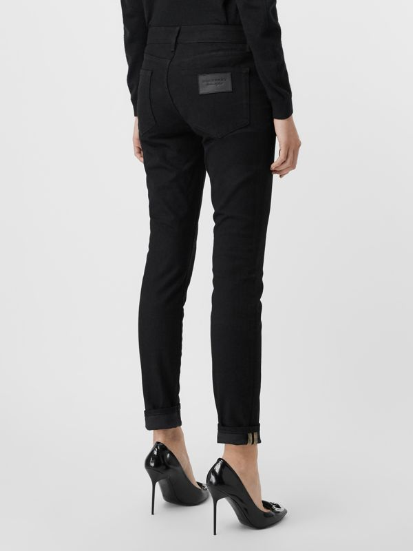 Check Detail Skinny Fit Japanese Denim Jeans in Black - Women | Burberry United Kingdom - cell image 2