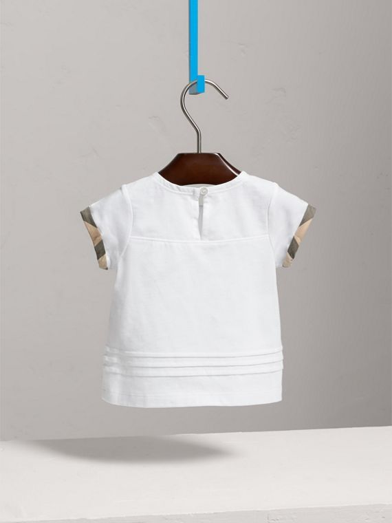 Pleat and Check Detail Cotton T-shirt in White | Burberry - cell image 3