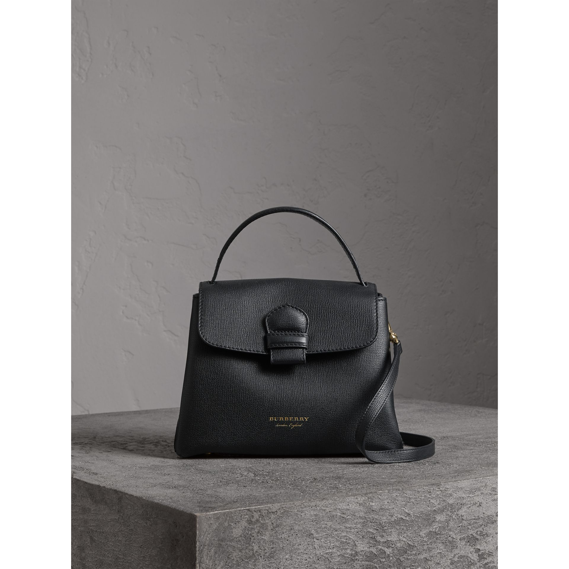 Small Grainy Leather and House Check Tote Bag in Black - Women | Burberry - gallery image 6