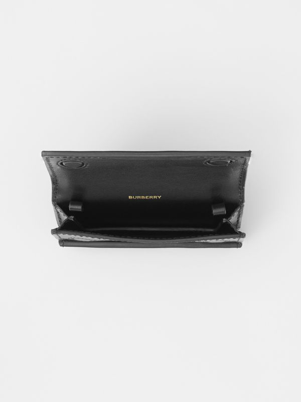 Horseferry Print Card Case with Detachable Strap in Black | Burberry - cell image 3