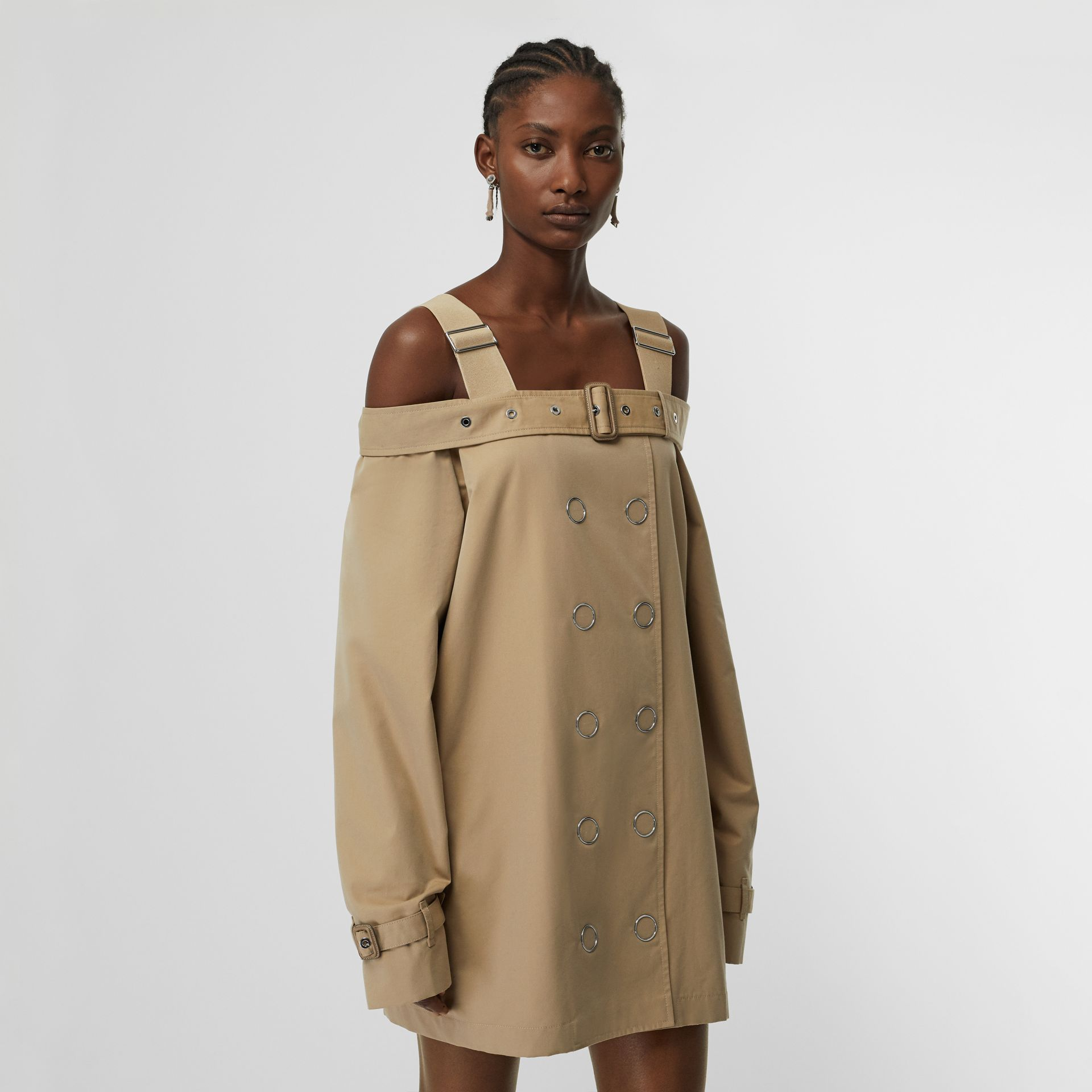 Cotton Gabardine Deconstructed Trench Dress in Pale Honey - Women | Burberry United Kingdom - gallery image 0