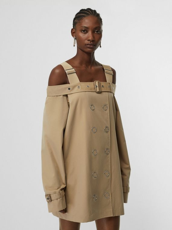 Cotton Gabardine Deconstructed Trench Dress in Pale Honey