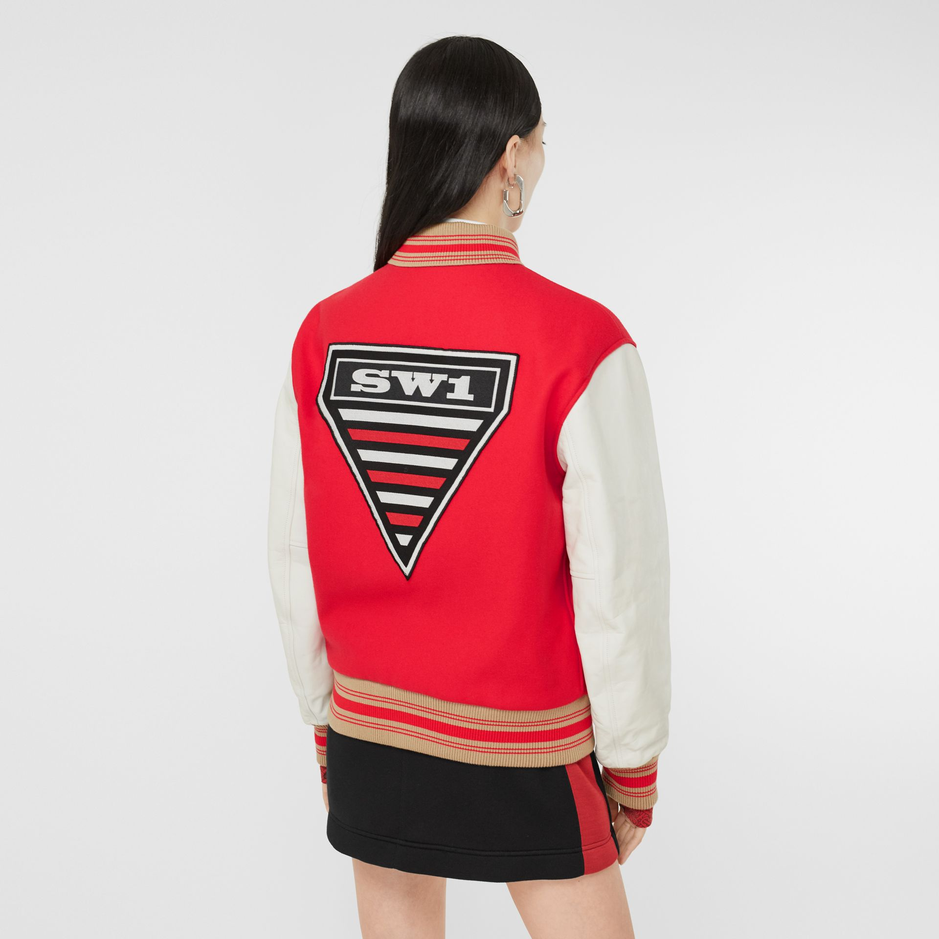 Contrast Sleeve Monogram Motif Wool Bomber Jacket in Bright Red - Women | Burberry - gallery image 2