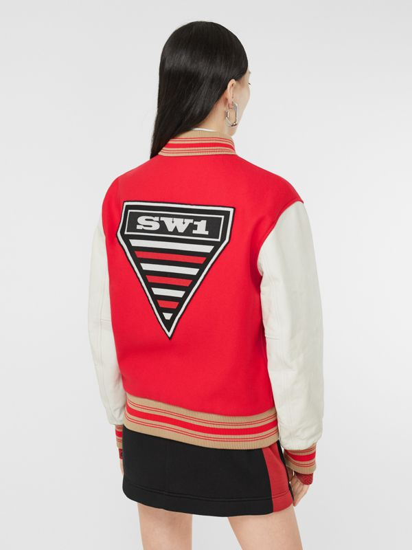 Contrast Sleeve Monogram Motif Wool Bomber Jacket in Bright Red - Women | Burberry - cell image 2