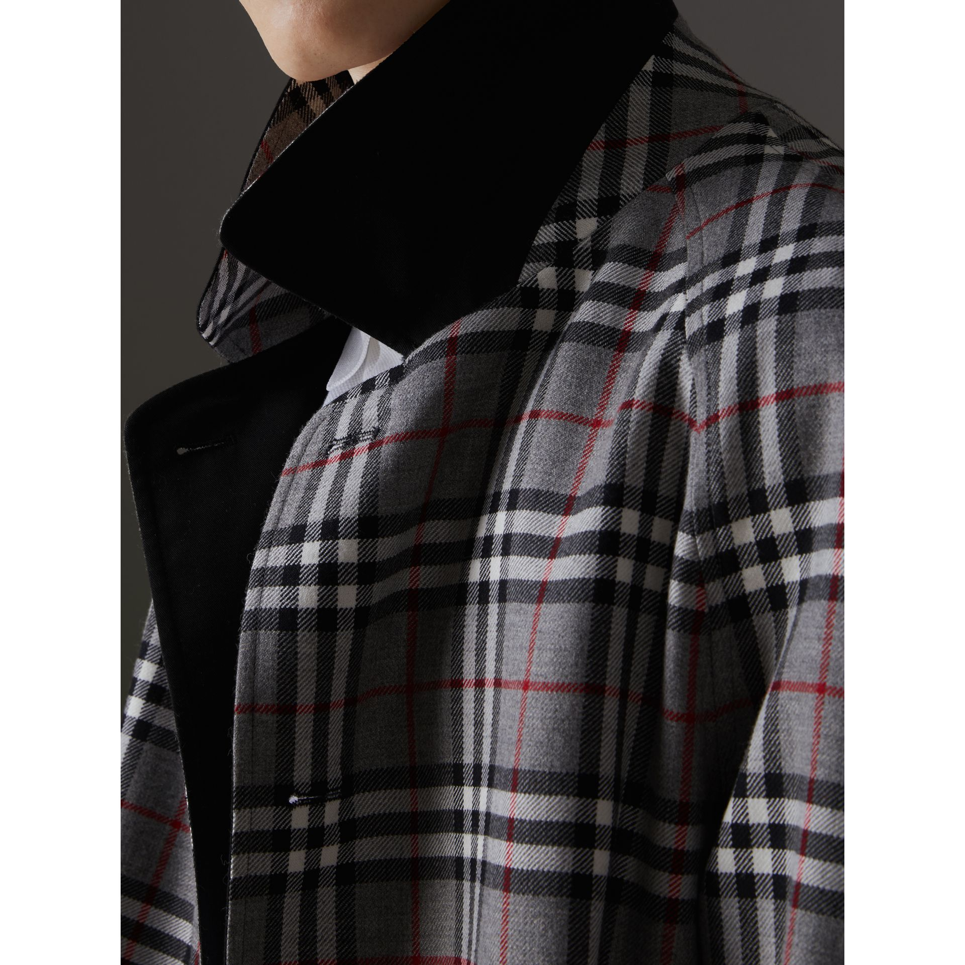 Reissued Reversible Car Coat in Black - Men | Burberry - gallery image 7