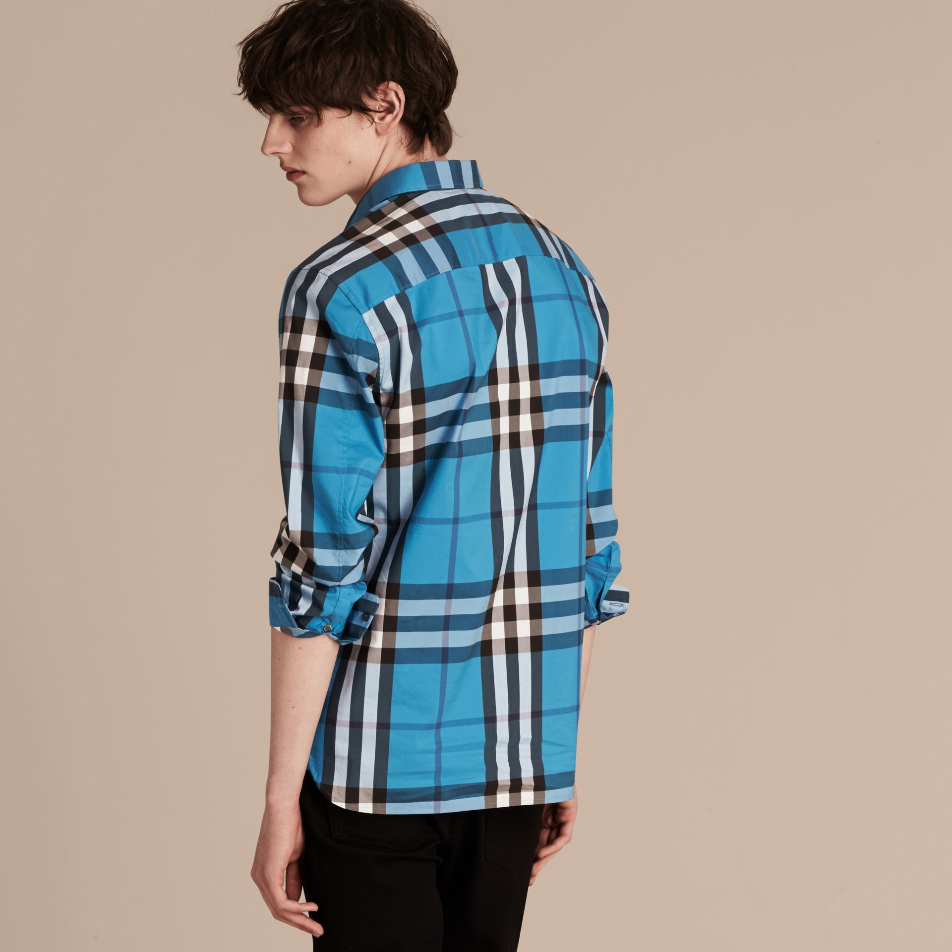 Check Stretch Cotton Shirt in Bright Blue - Men | Burberry - gallery image 3