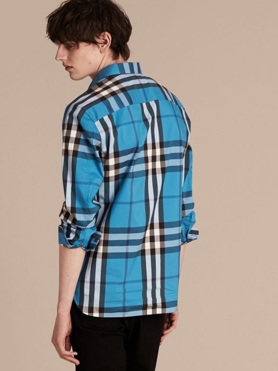 Check Stretch Cotton Shirt in Bright Blue - Men | Burberry - cell image 2