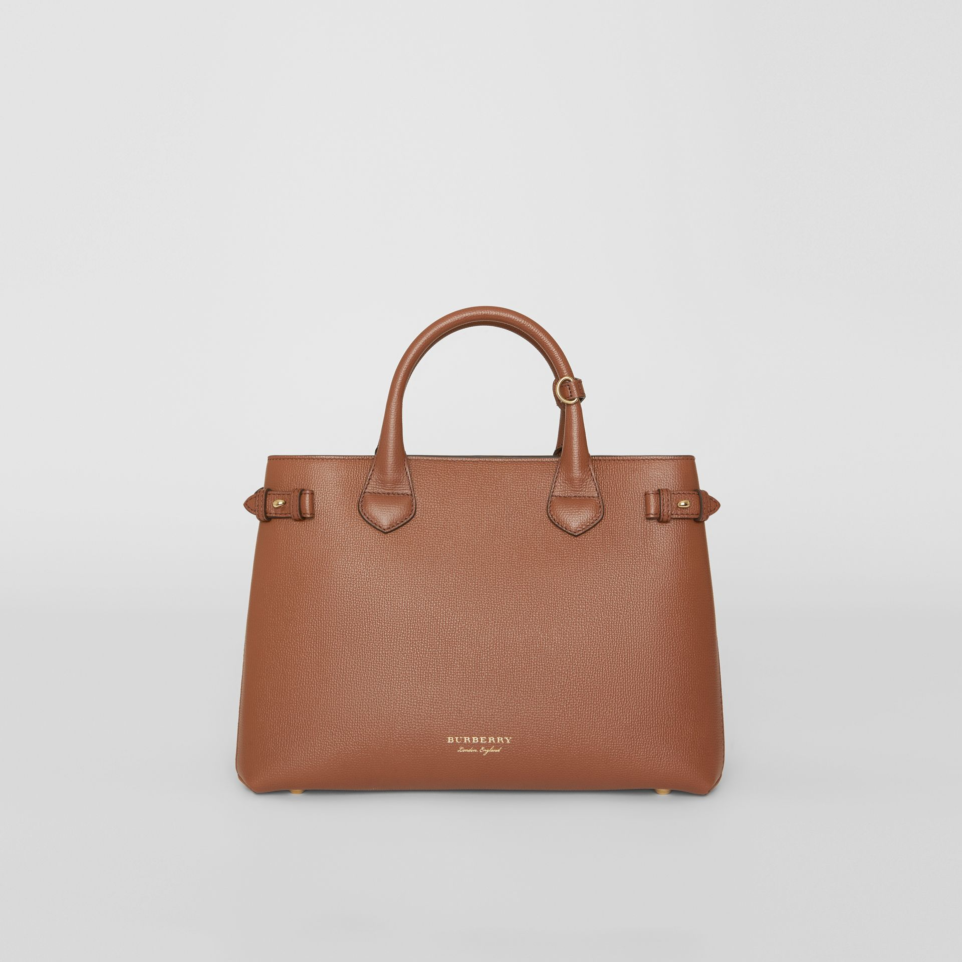 The Medium Banner in Leather and House Check in Tan - Women | Burberry United Kingdom - gallery image 6