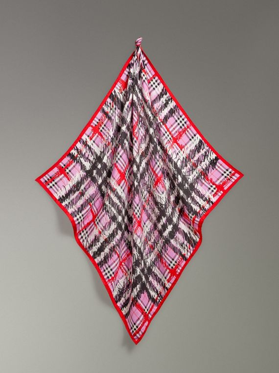Scribble Check Silk Square Scarf in Fuchsia Pink