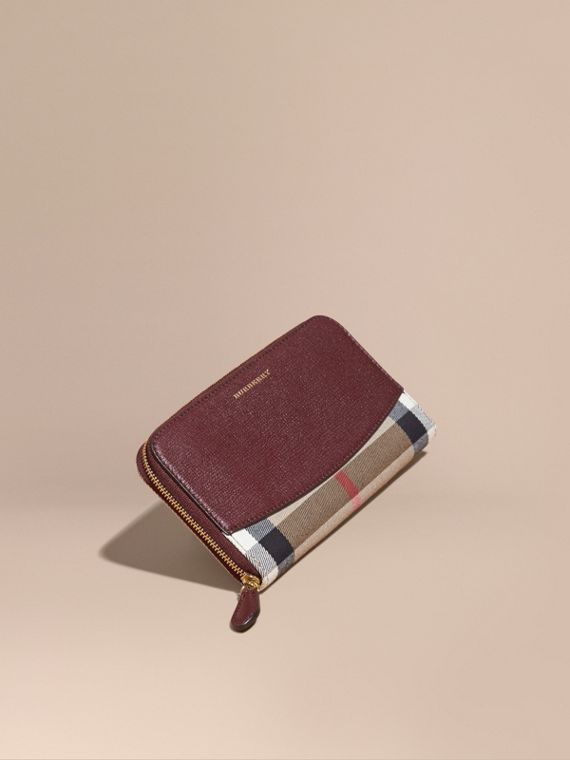 House Check and Leather Ziparound Wallet Mahogany Red
