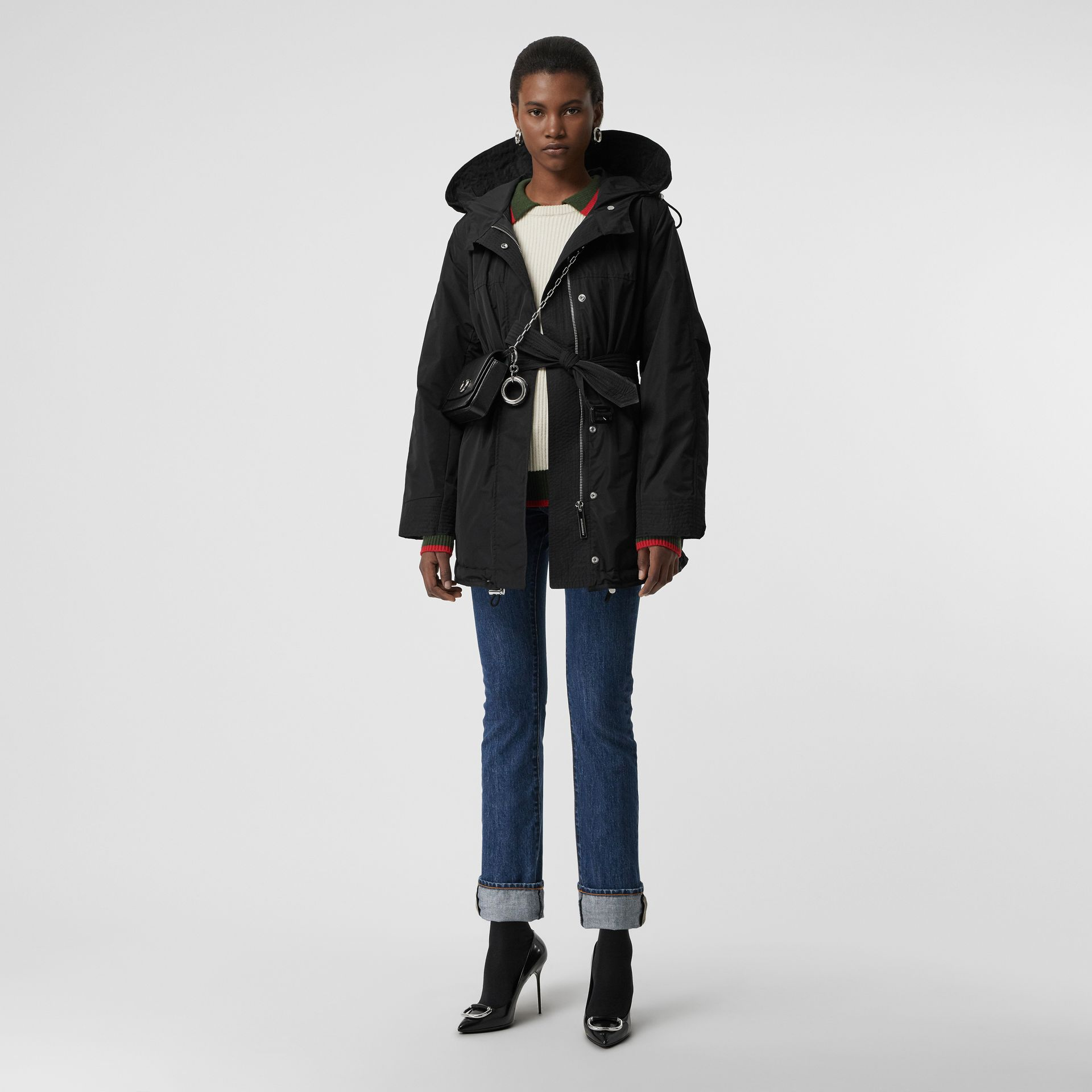 Shape-memory Taffeta Hooded Parka in Black - Women | Burberry Australia - gallery image 0