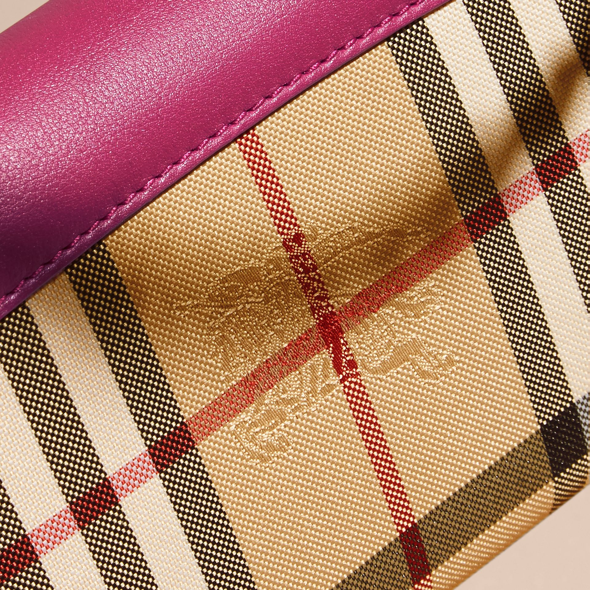 Brilliant fuchsia Horseferry Check and Leather Wallet with Chain Brilliant Fuchsia - gallery image 2