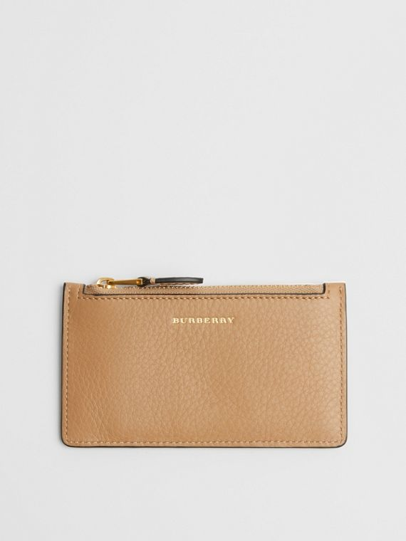 Two-tone Leather Card Case in Light Camel