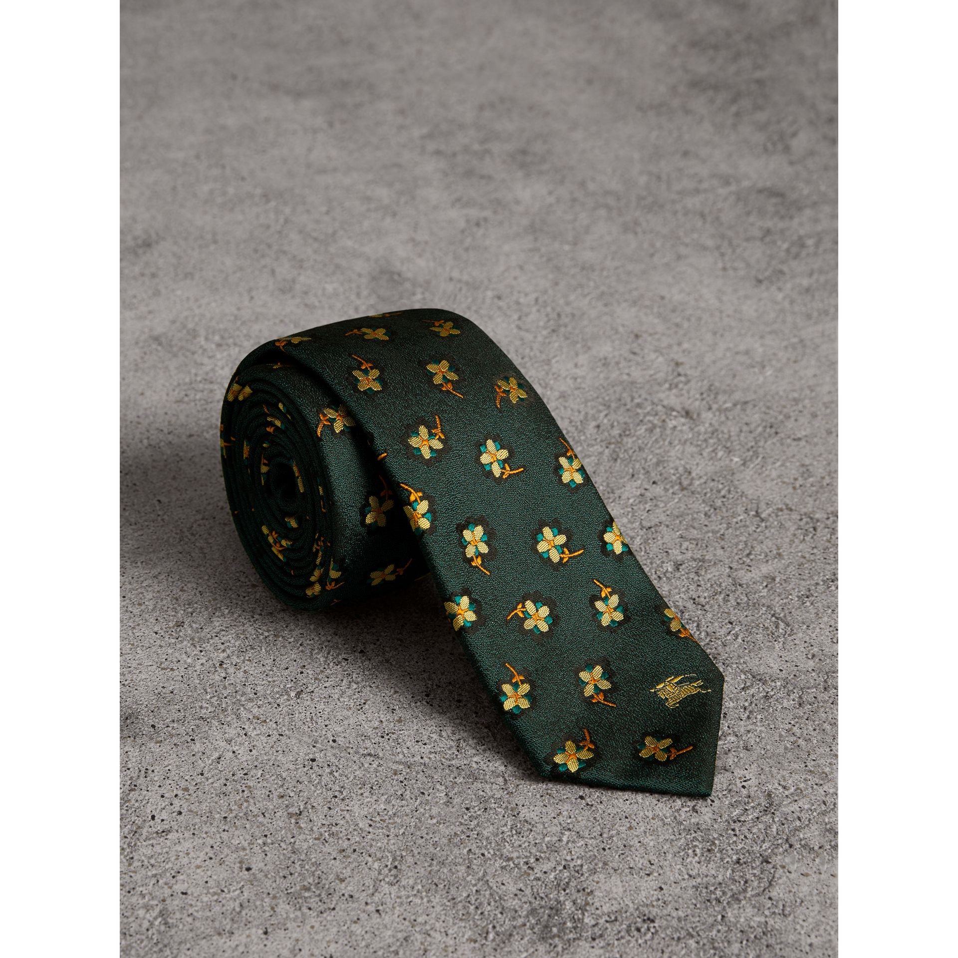 Slim Cut Floral Silk Brocade Tie in Pine Green - Men | Burberry - gallery image 0