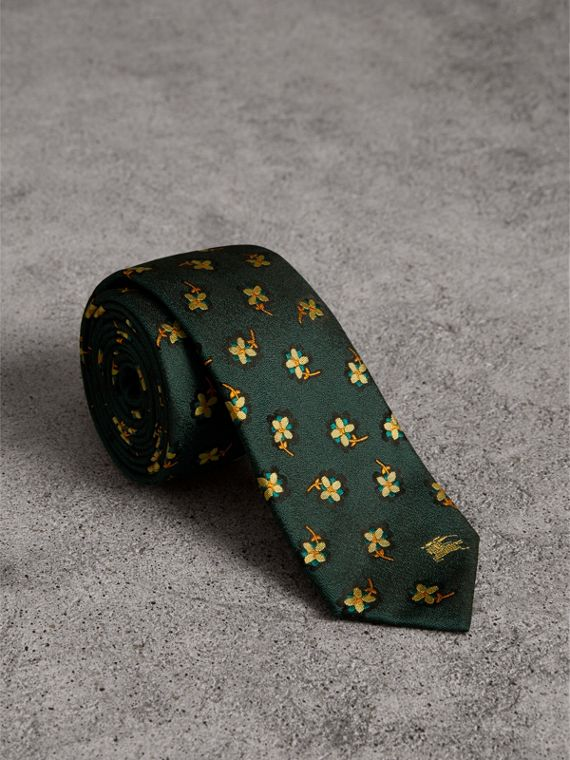 Slim Cut Floral Silk Brocade Tie in Pine Green