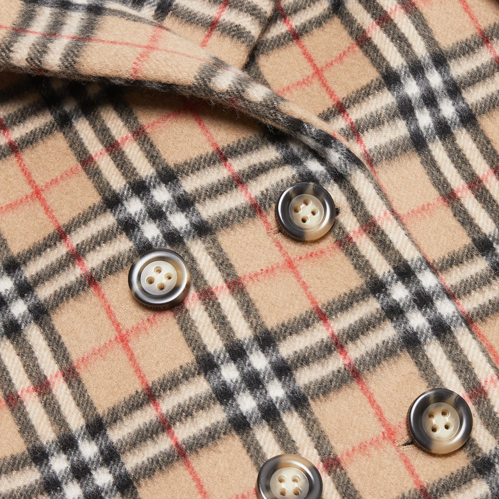 Vintage Check Alpaca Wool Blend Pea Coat in Archive Beige | Burberry - gallery image 1