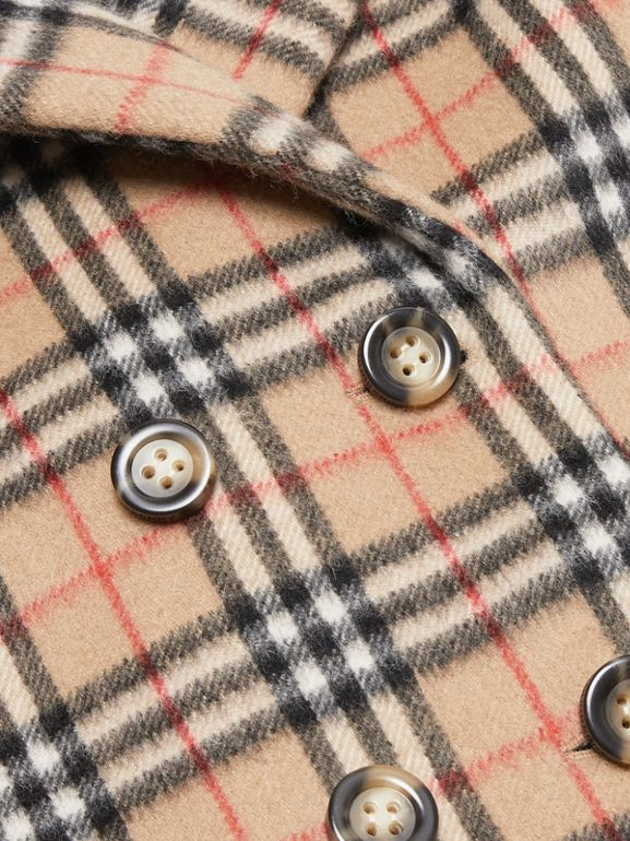 Vintage Check Alpaca Wool Blend Pea Coat in Archive Beige | Burberry - cell image 1