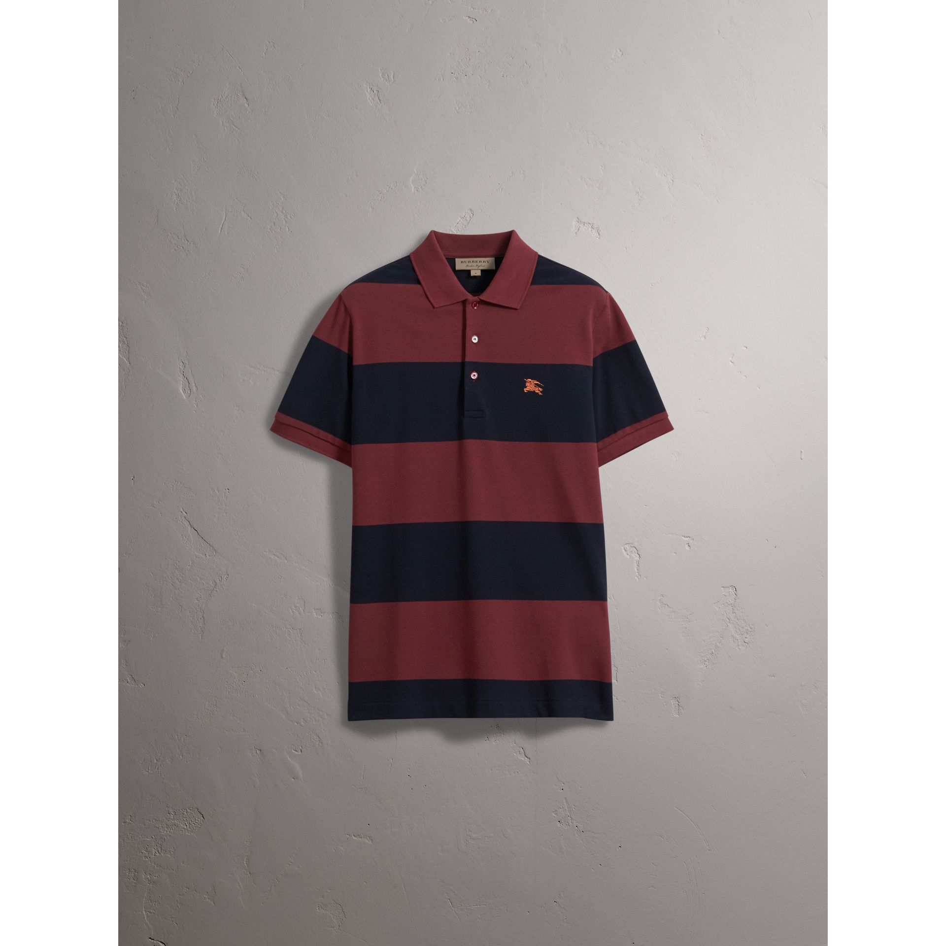 Striped Cotton Piqué Polo Shirt in Burgundy/navy - Men | Burberry Singapore - gallery image 3