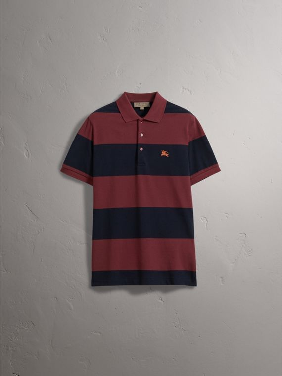 Striped Cotton Piqué Polo Shirt in Burgundy/navy - Men | Burberry Singapore - cell image 2