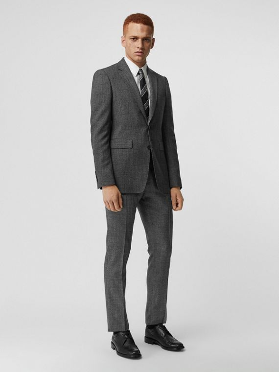 Classic Fit Melange Wool Three-piece Suit in Charcoal