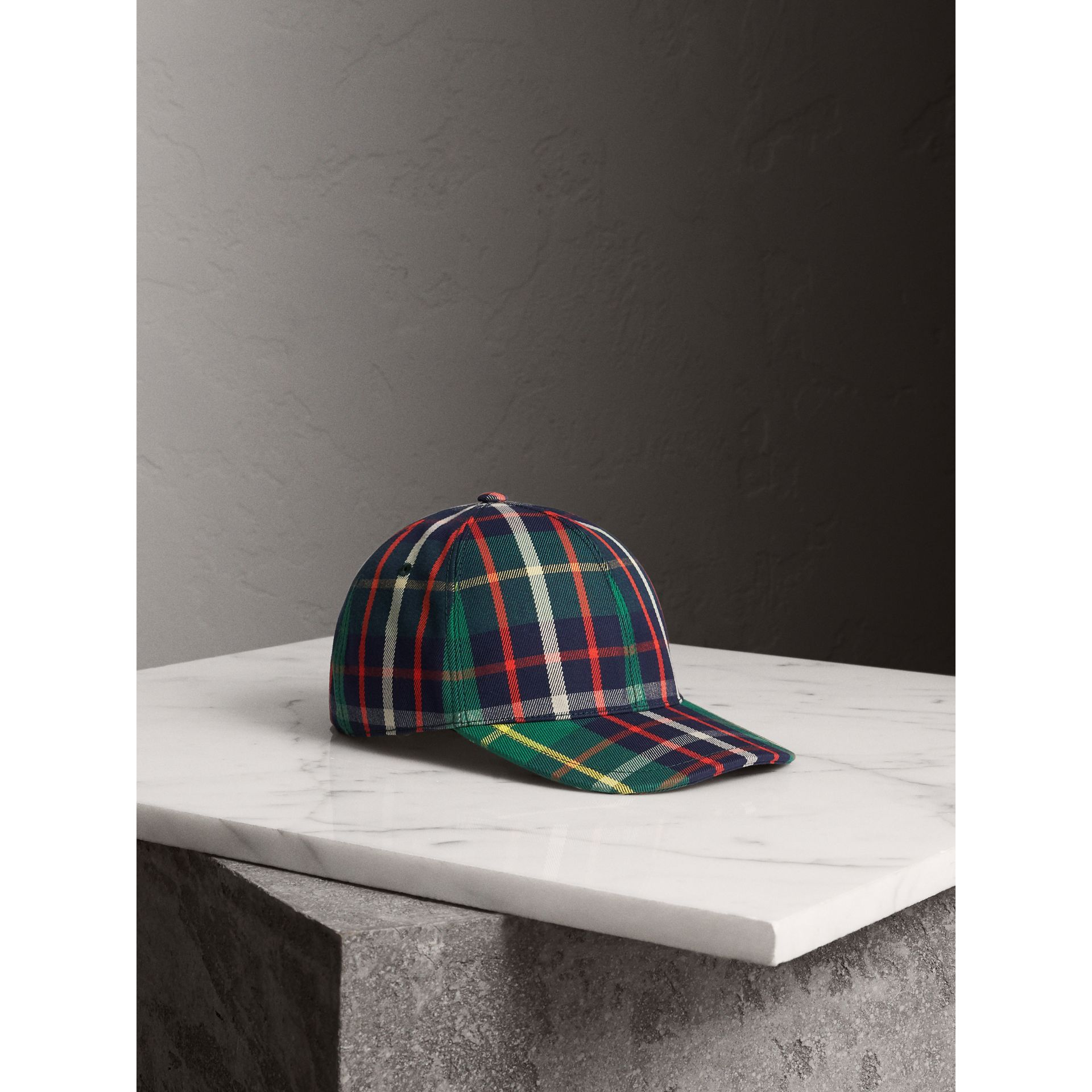 Check Baseball Cap in Forest Green | Burberry - gallery image 1