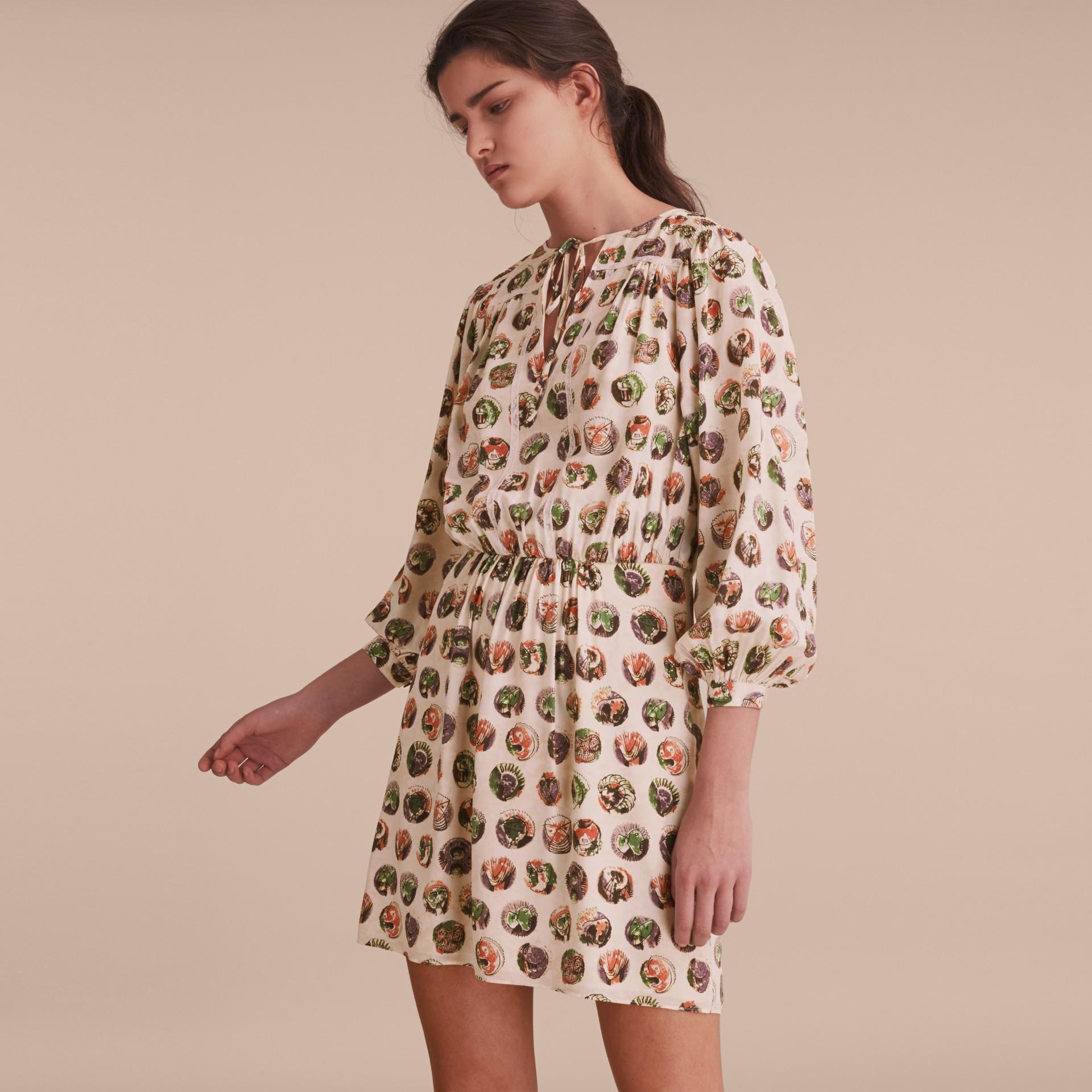Pallas Heads Print Silk Dress with Neck Tie - gallery image 6