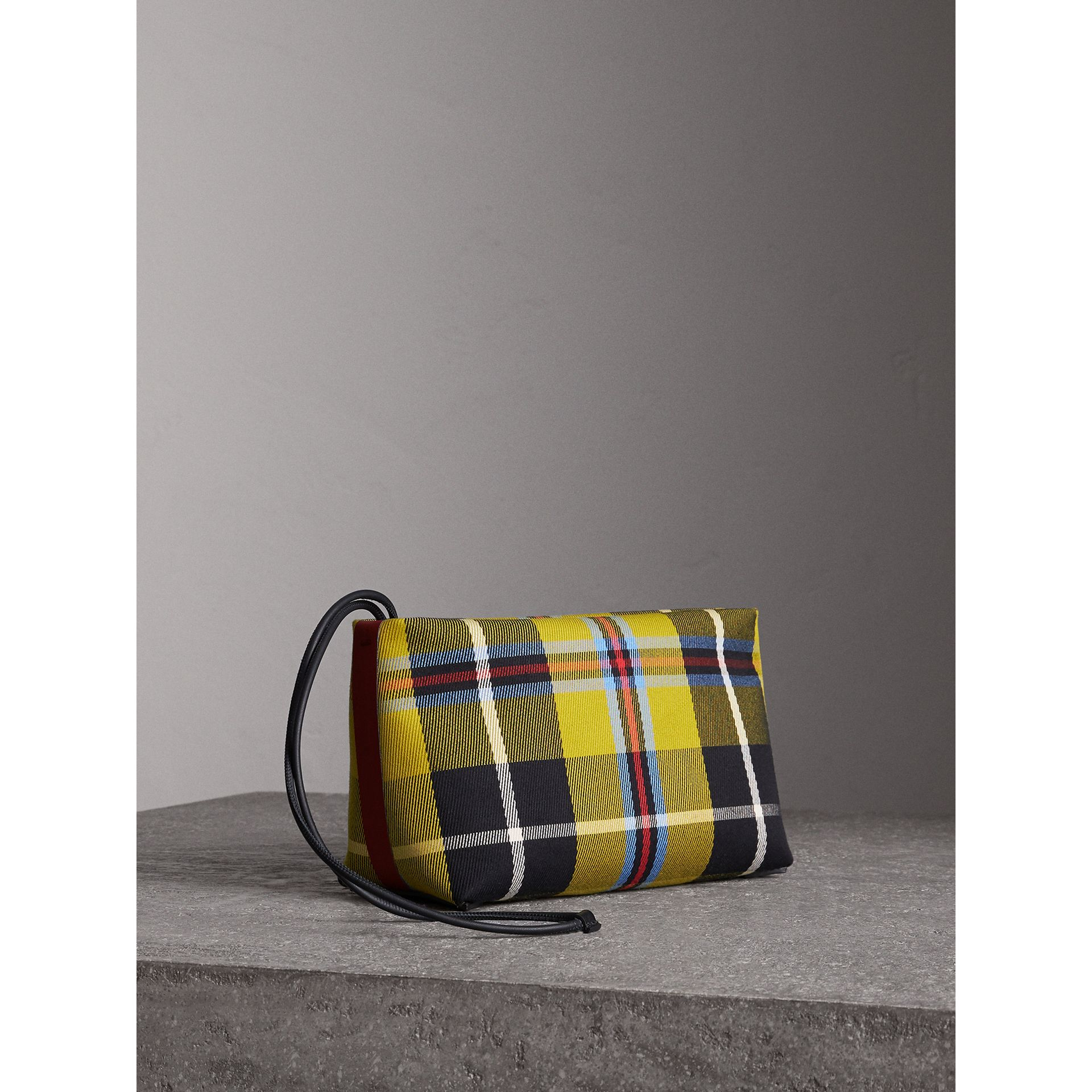 Tartan Cotton Clutch in Flax Yellow/caramel | Burberry Australia - gallery image 0