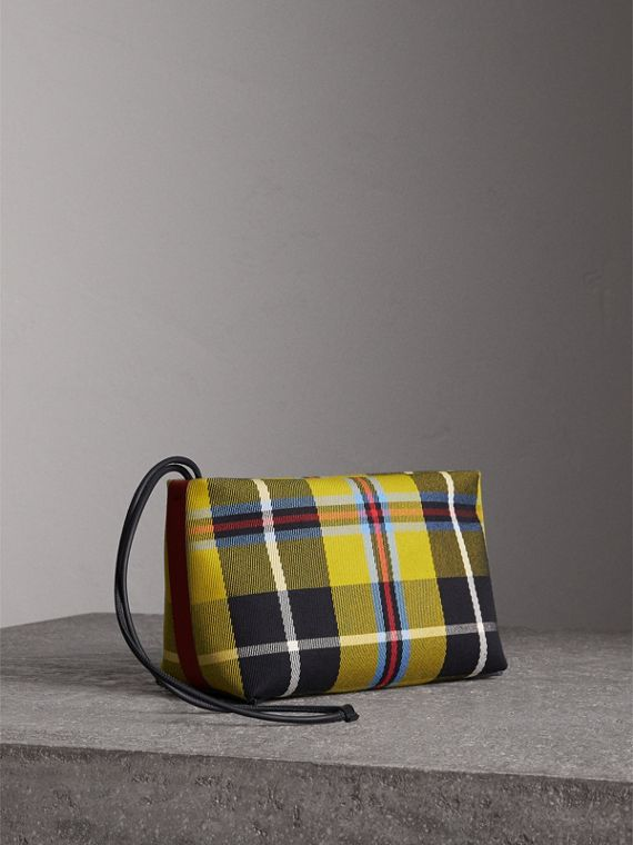 Tartan Cotton Clutch in Flax Yellow/caramel