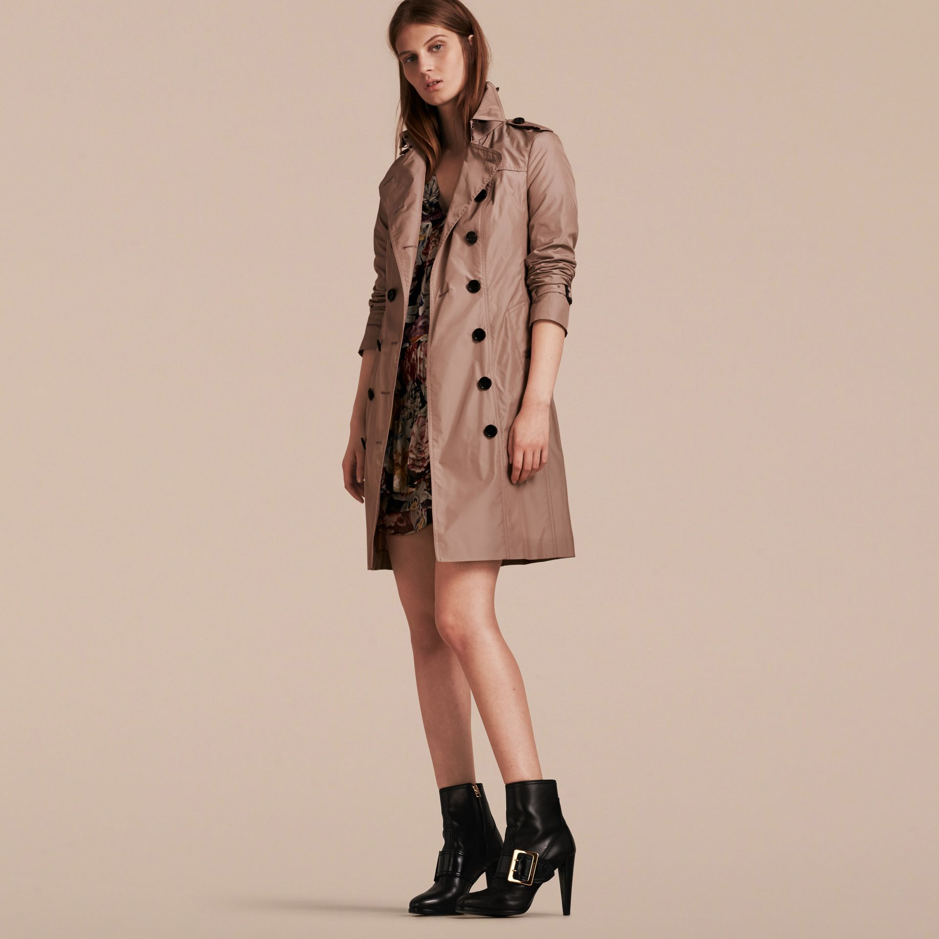 Nude Long Technical Trench Coat - gallery image 7