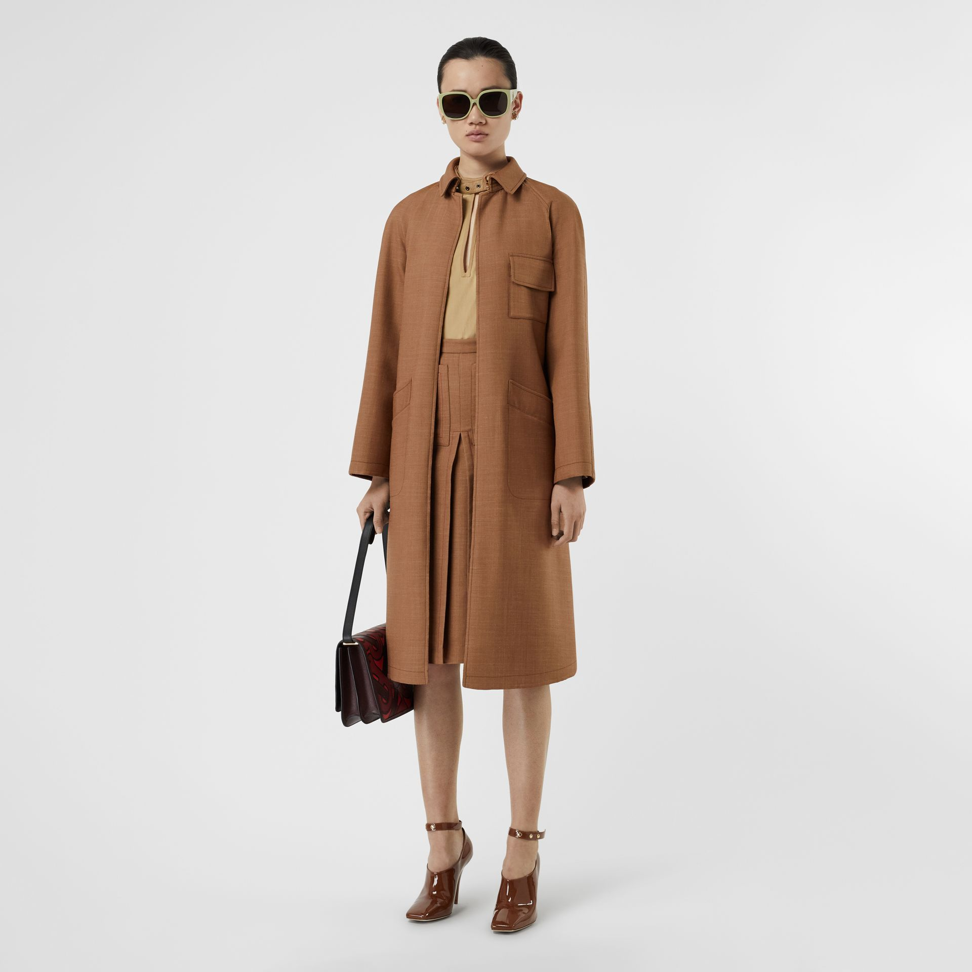 Bonded Wool Silk Mohair Linen Car Coat in Bronze - Women | Burberry United Kingdom - gallery image 5