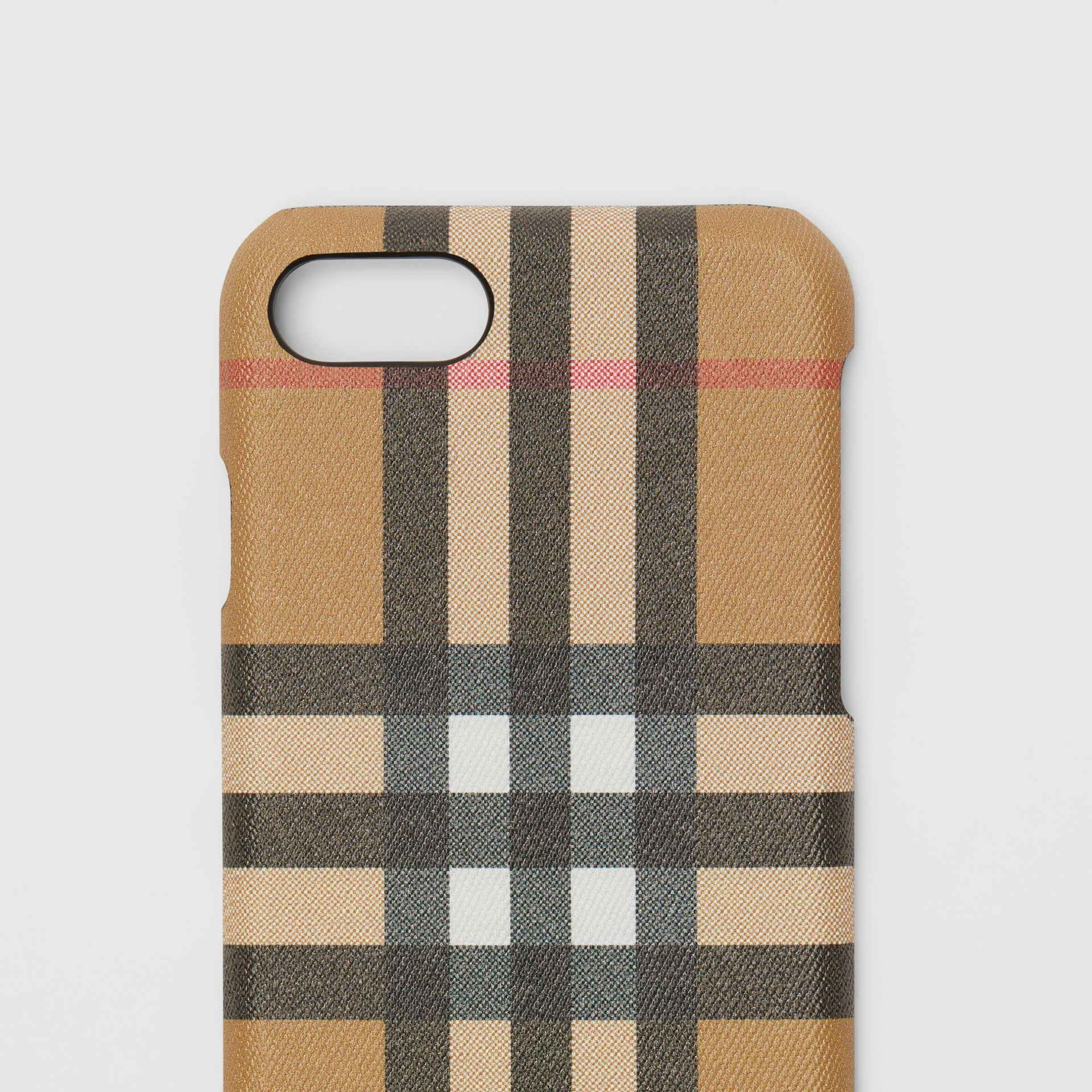 Custodia per iPhone 8 in pelle e motivo Vintage check (Nero) | Burberry - immagine della galleria 1