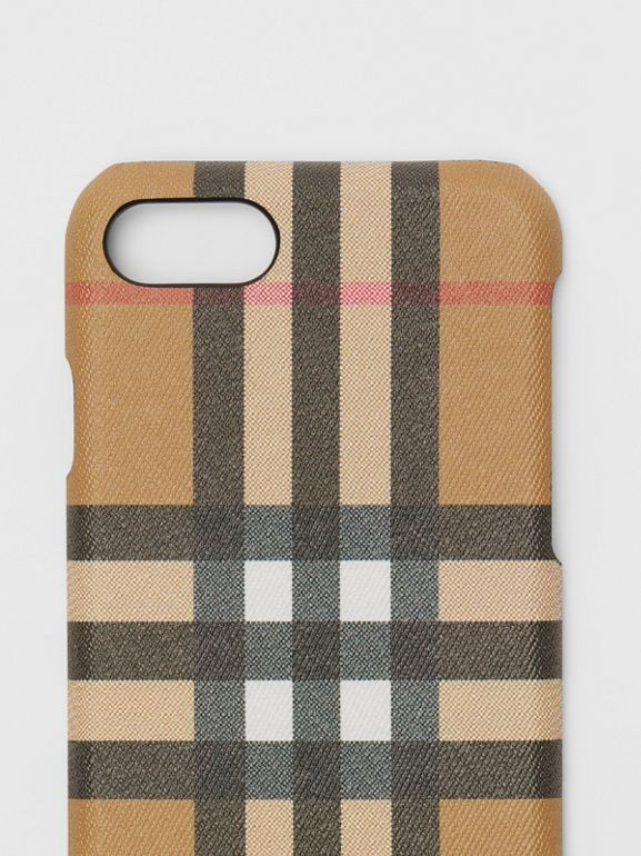Vintage Check and Leather iPhone 8 Case in Black | Burberry Australia - cell image 1