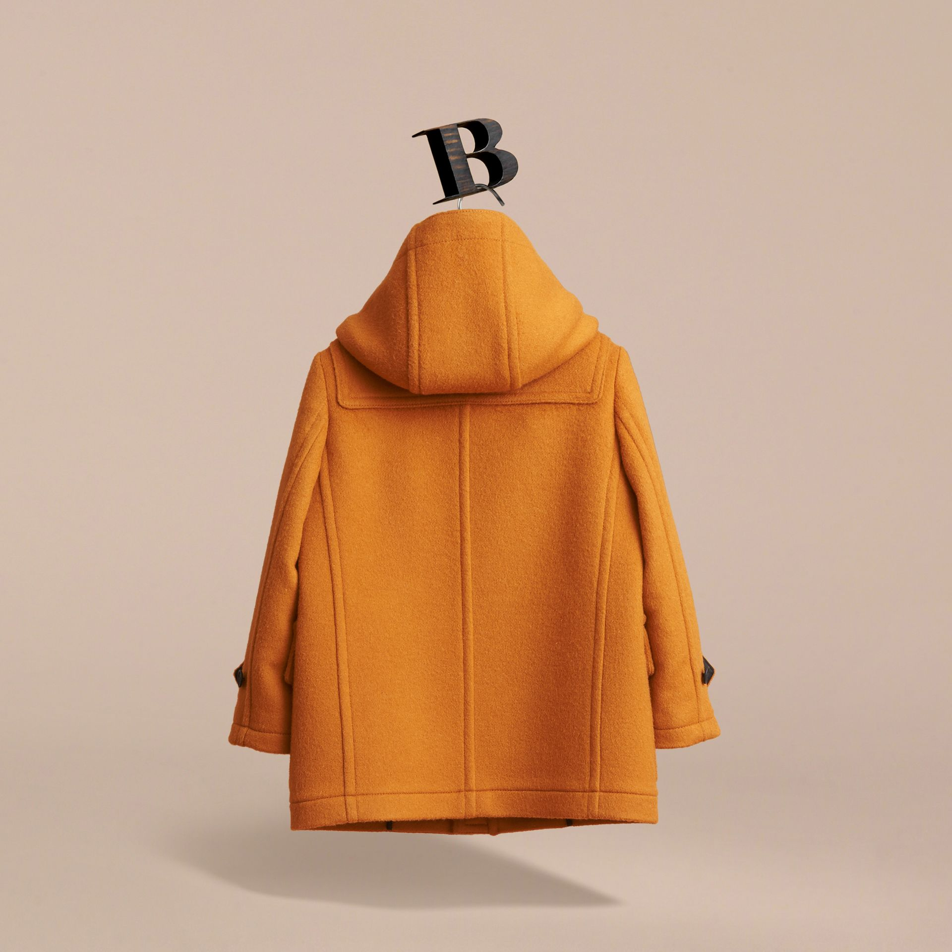 Wool Duffle Coat with Check-lined Hood in Bright Ochre - Girl | Burberry Australia - gallery image 3