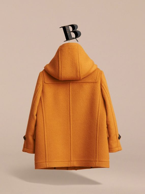 Wool Duffle Coat with Check-lined Hood in Bright Ochre - Girl | Burberry - cell image 2