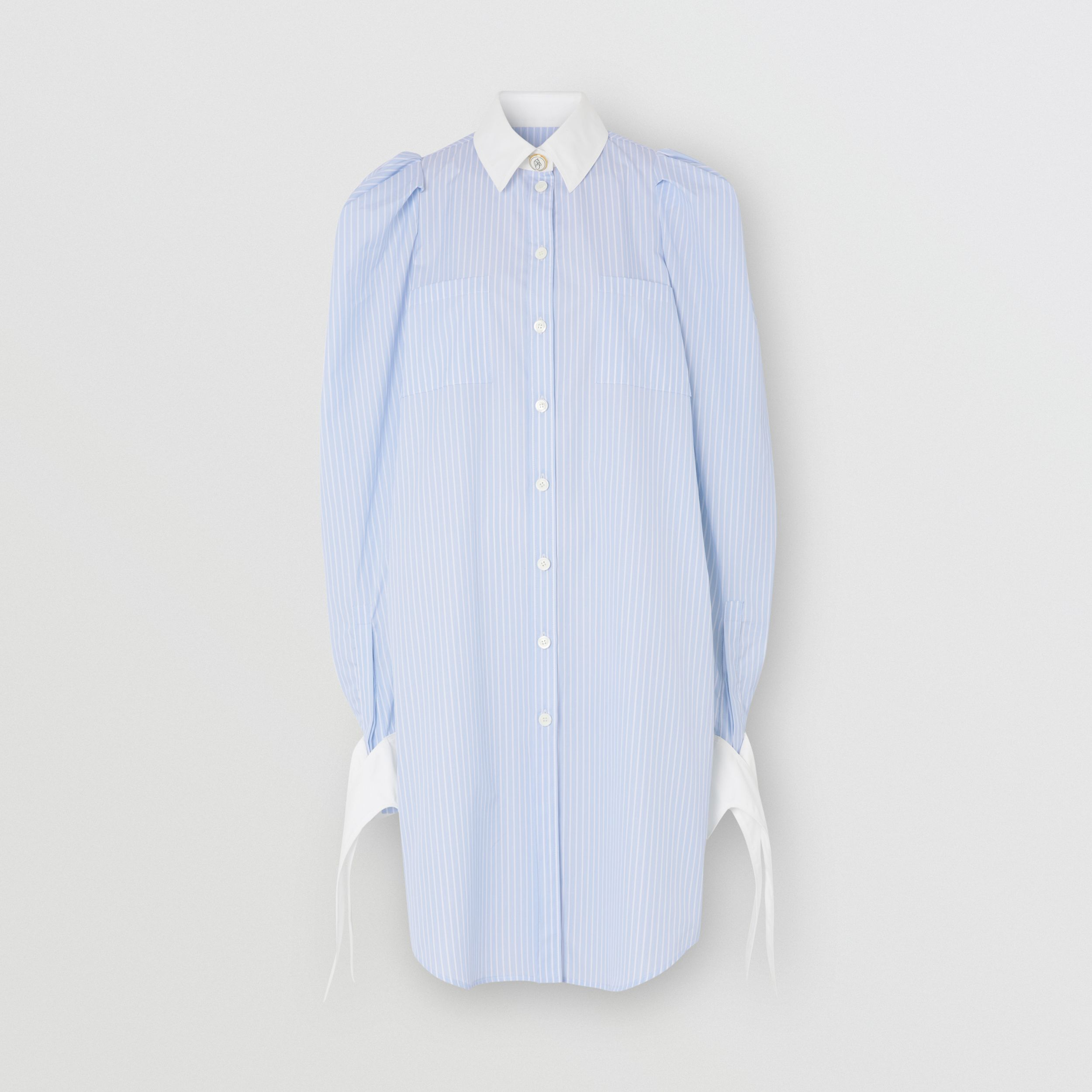 Striped Cotton Poplin Shirt Dress in Pale Blue - Women | Burberry - 4