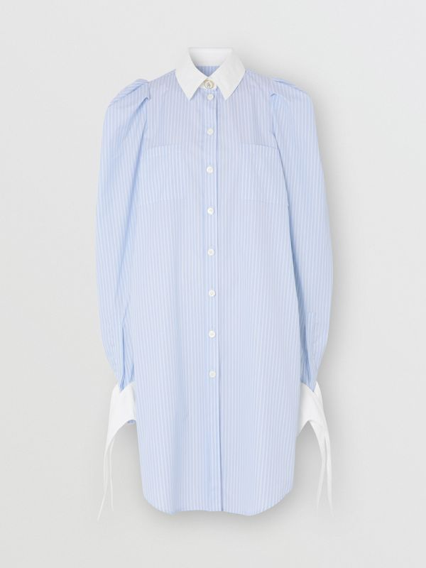 Striped Cotton Poplin Shirt Dress in Pale Blue - Women | Burberry - cell image 3
