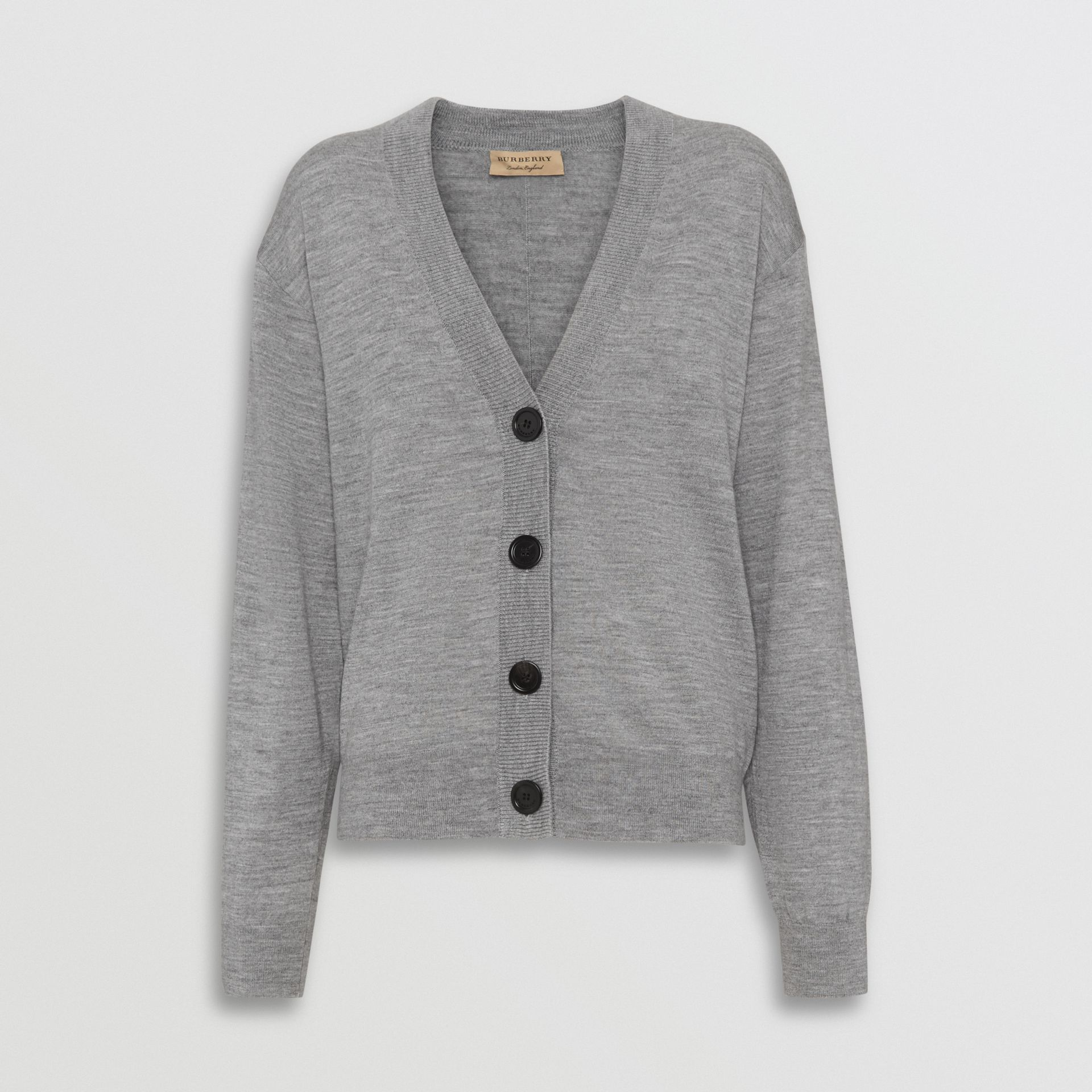 Logo Intarsia Merino Wool Cardigan in Grey Melange - Women | Burberry United Kingdom - gallery image 3