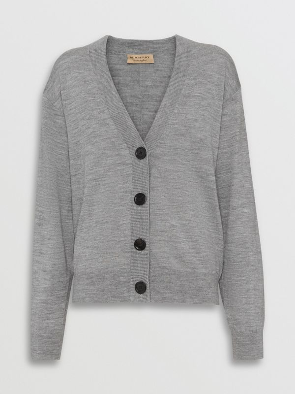 Logo Intarsia Merino Wool Cardigan in Grey Melange - Women | Burberry - cell image 3
