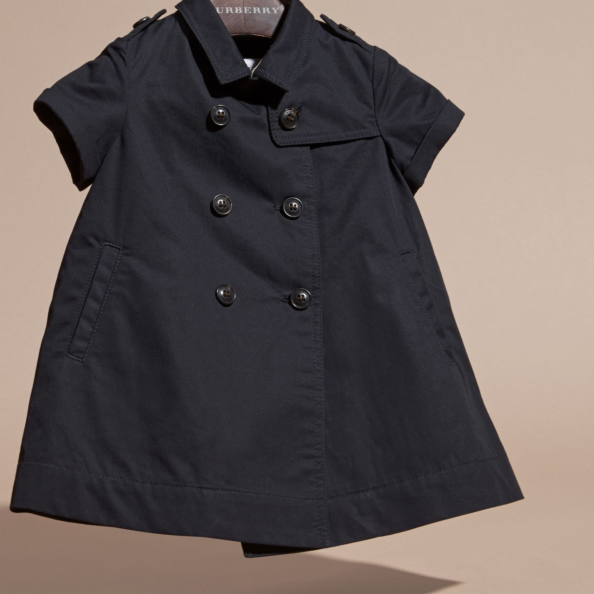 Navy Cotton Trench Dress Navy - gallery image 3
