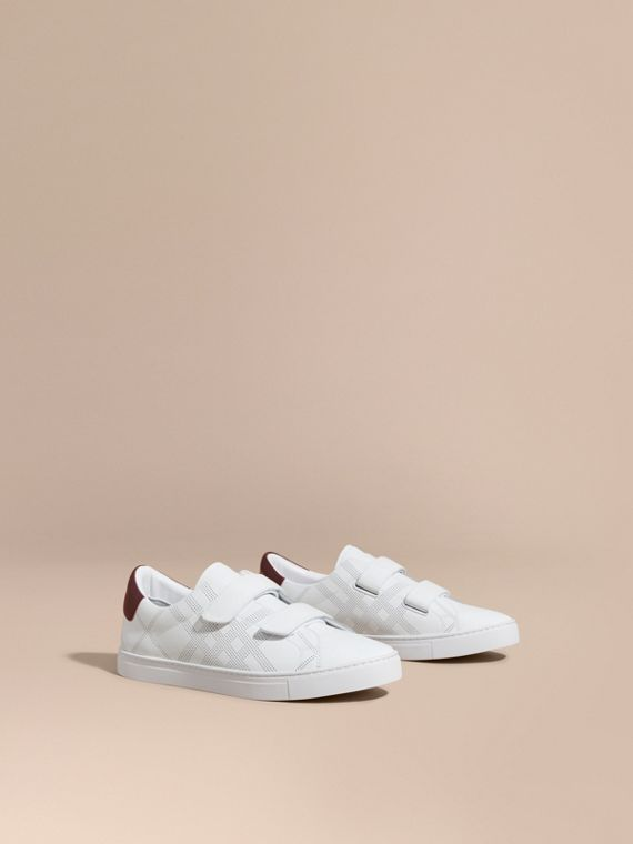 Perforated Check Leather Trainers Optic White/deep Claret Melange