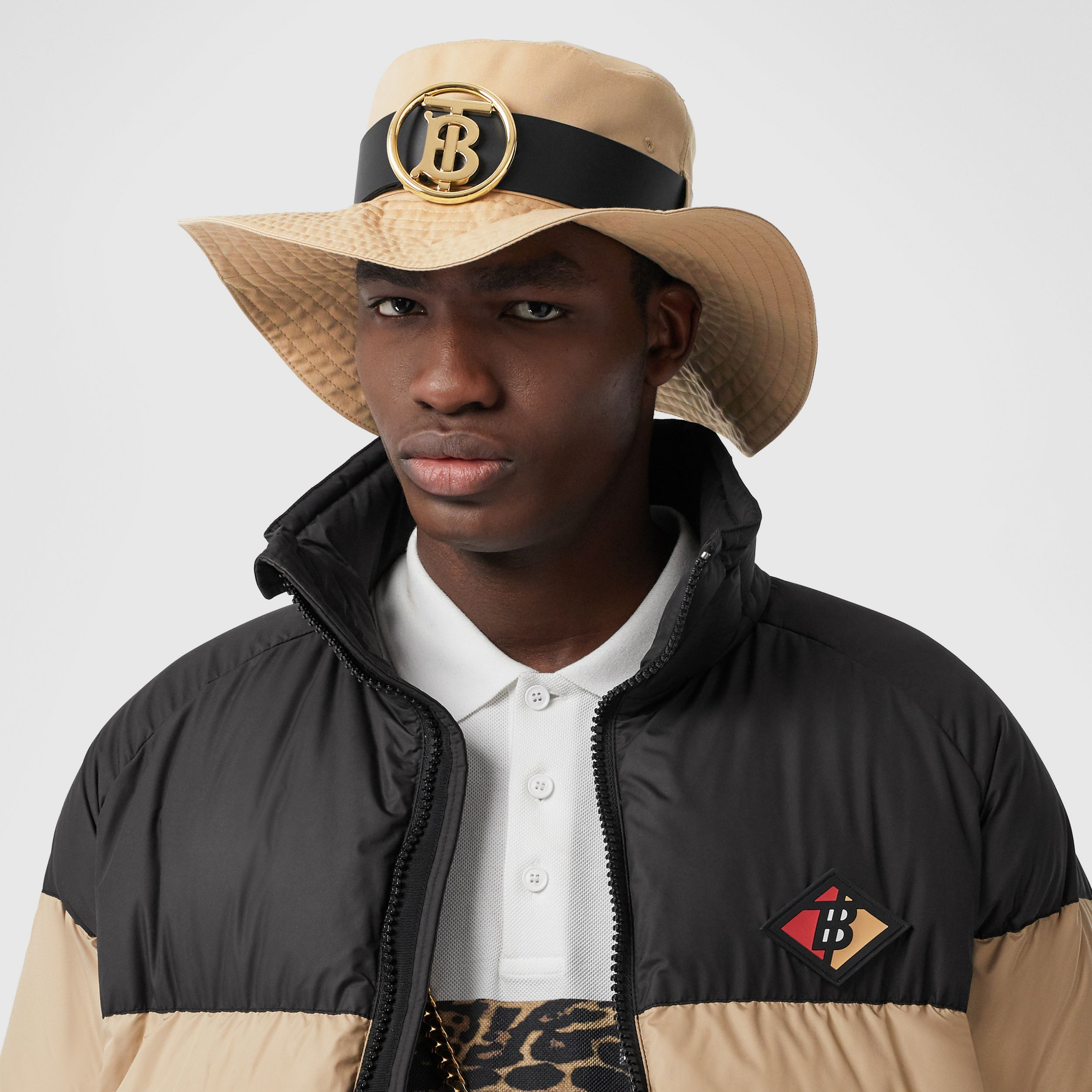 Monogram Motif Leather Belt Detail Cotton Desert Hat in Honey | Burberry - 4