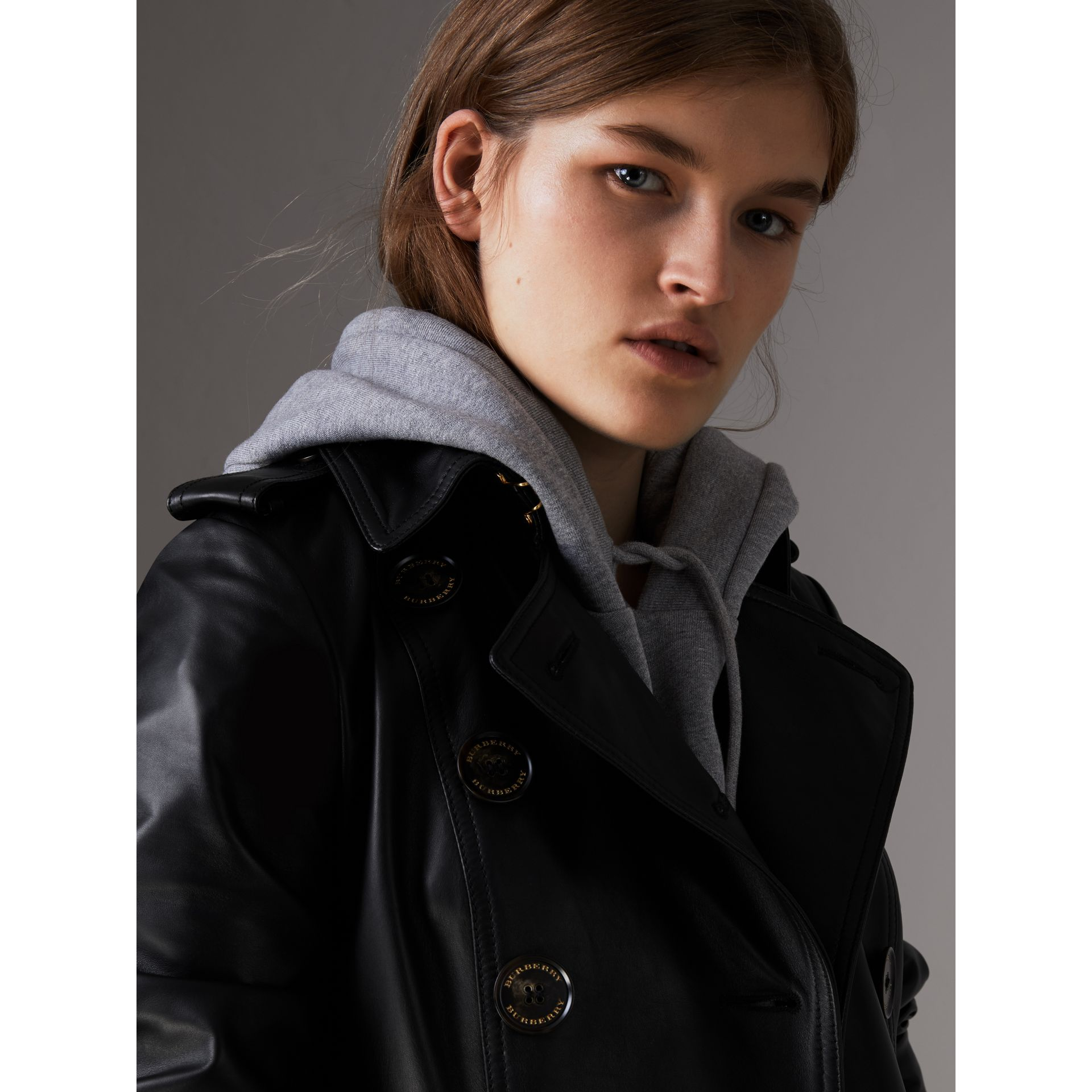Lambskin Trench Coat in Black - Women | Burberry - gallery image 2