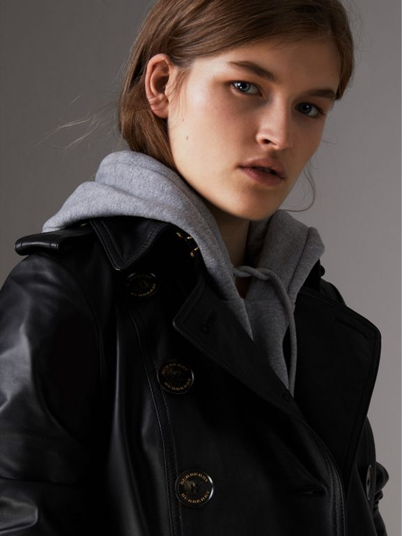Lambskin Trench Coat in Black - Women | Burberry Singapore - cell image 1