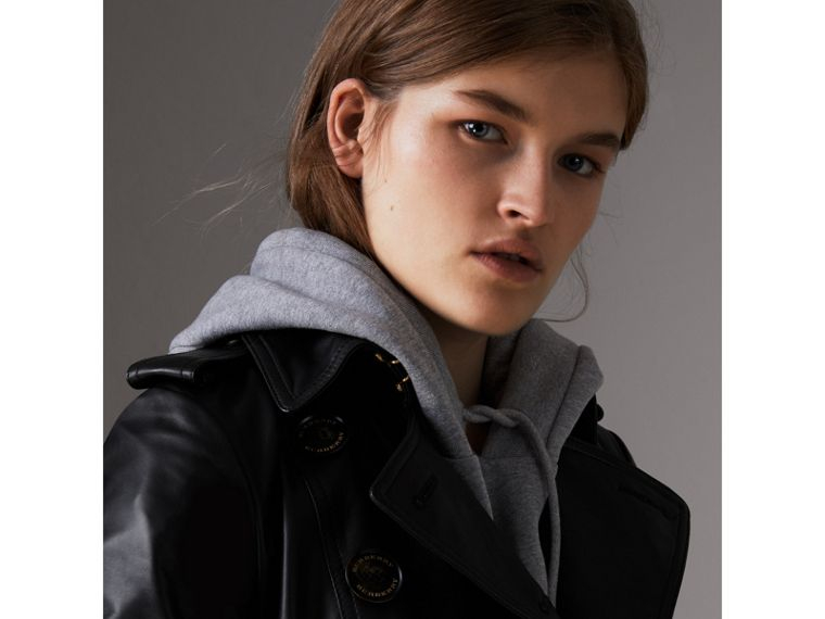 Lambskin Trench Coat in Black - Women | Burberry United Kingdom - cell image 1